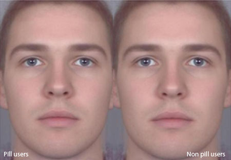 Average faces of the male partners of women who use the pill (left) or don't use the pill (right)